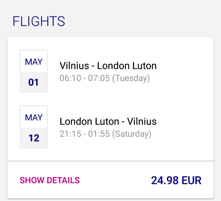 cheap flights vilnius london