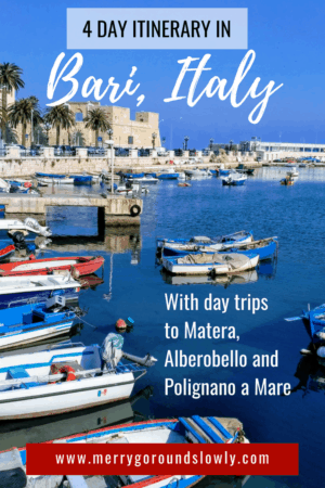 This itinerary will help you to get the best out of your trip. Fly to Bari, Italy, and take day trips to Matera, Alberobello and Polignano a Mare. Explore trulli, Puglia, Basilicata, beaches, Sassi di Matera, and more!