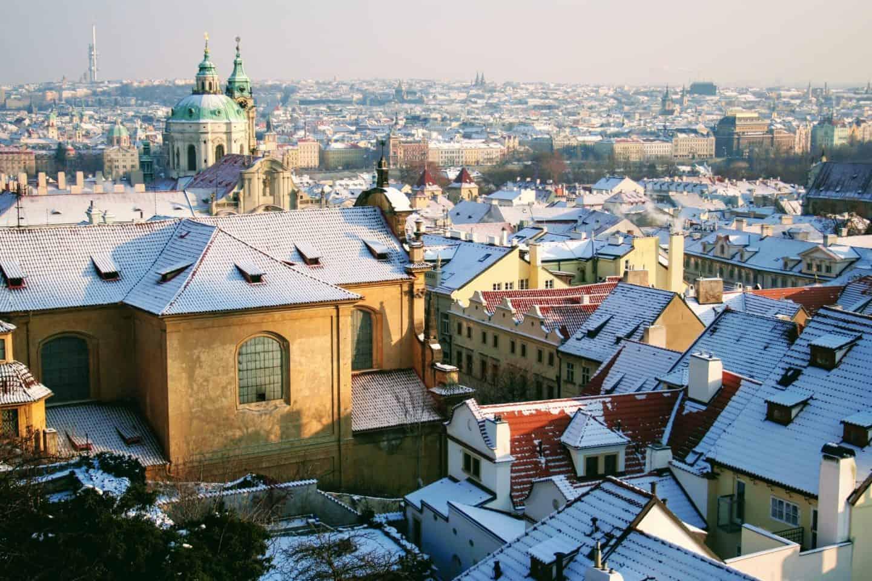 Snow in Prague, Czech Republic