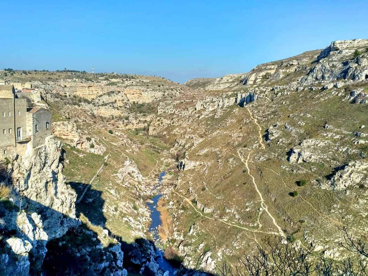 ravine and paleolithic caves Matera